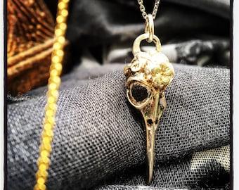Sterling Silver Raven Skull Pendant Raven Skull Necklace Raven Skull Pendant Crow Skull Pendant Crow Skull Necklace Bird Skull Pendant Skull