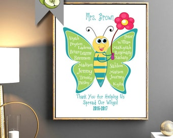 Teacher Appreciation gift: Personalised Thank you, Kindergarten, Nursery, butterfly, printable retirement present long service thank you