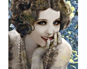 1920 s model vintage goddess, digital print, photomontage, digital art, silver screen actress, 1920's flapper, fine art print, wall art.