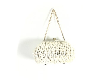White purse, white bag, white straw purse, white straw bag, vintage bags, vintage purse