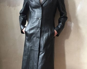 LEATHER COAT black size S 90s