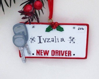 New Driver License Plate and Keys Personalized Christmas Ornament / Driver's License Ornament /  Personalized Name or Message