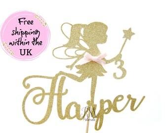 Glitter Fairy Cake Topper - Custom Cake Topper, Fairy Glitter Cake Topper, Fairy Cake Topper, Fairy Party, Fairy Birthday, Free shipping