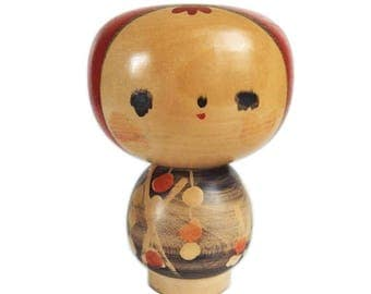 Apple Head Kokeshi Doll with Expressive Eyes and Modern Kimono. Kokeshi Doll. Japanese Kokeshi Doll by Tomoe Fukushima. Creative Kokeshi.