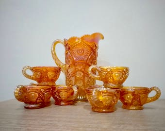 Marigold carnival glass pitcher and cup set, 9 piece pitcher set, Imperial carnival glass, cups with handles