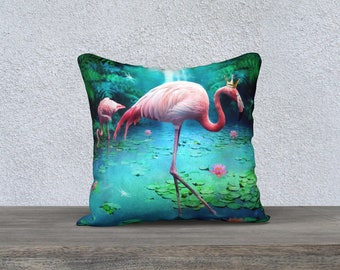 whimsical Flamingo art pillow cover