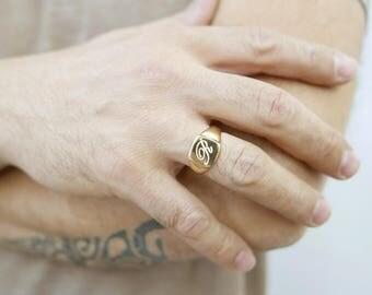 Monogram ring. Unisex ring. Monogram ring. Initial ring. Pinky ring.  Gift for her.signet ring. Personalized ring. Personalized gift.2142