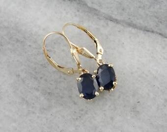 Sapphire Drop Earrings in Yellow Gold with Lever Backs, Oval Cut Dark Blue Sapphire Earrings, CCWX04-N