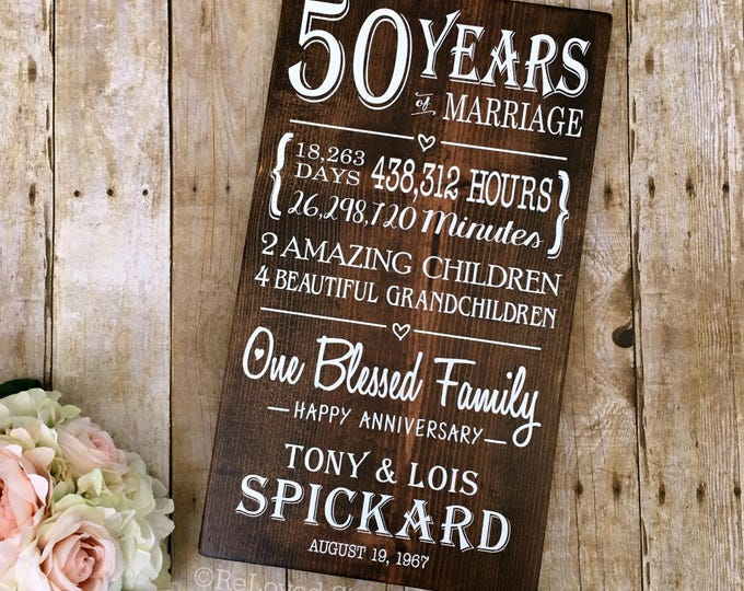 50 Years of Marriage Anniversary Board, 50th Anniversary, Parents Gift, Golden Anniversary, Keepsake Gift