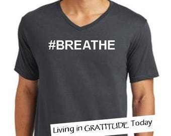 Men's, charcoal,  V neck, #BREATHE cotton tee, Recovery tee, 12 step tee, inspirational tee, yoga, positive vibes, urban wear street wear