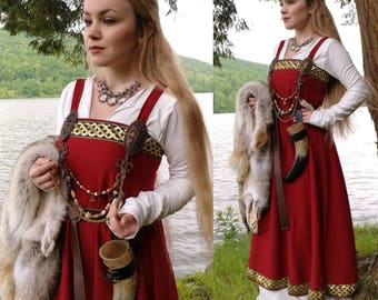 Red and gold viking apron dress