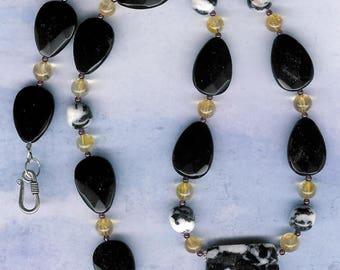 Yellow Streak - OOAK Zebra Agate Black Agate Citrine Garnet Sterling Silver Necklace