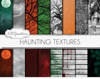 Haunting Textures digital papers, scenes, moon, trees, haunted, graveyard, tombstone, ghosts, textures, dirty, grunge, Halloween backgrounds