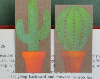 Cacti Magnetic Bookmark set, FREE UK SHIPPING Handmade Cactus bookmarks One of a Kind Book Lover Bookworm Gift stocking stuffer