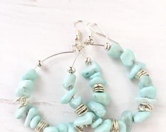 Large mint hoop earrings, Mint beaded hoop earrings