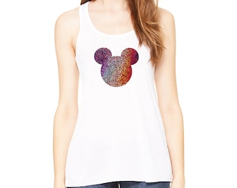HOLOGRAM Mickey Face Flowy Racerback Tank Top Disney Trip Bachelorette Party