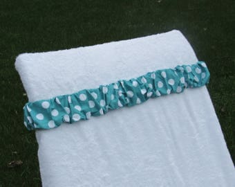 Dark teal with large white polka dot towel cinch. Bachelorette Party Cruise Resort Vacation Girls weekend Beach chair Beach towel scrunchie
