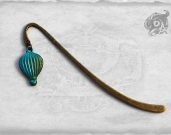 Hot air balloon Steampunk charm bookmark // Metal ~ hand-painted in copper, teal & green // Traveller Reading Lover Literary gift gentlemen