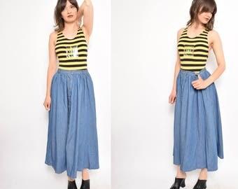 Vintage 90's Denim Button Skirt / High Waisted Denim Maxi Skirt - Size Small