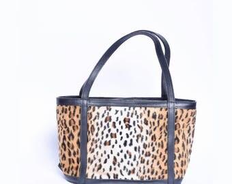 Vintage 90's MAXX Leopard Faux Fur Small Handbag