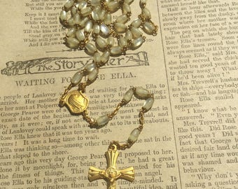 Vintage Rosary . Five Decade Rosary . Religious Cross Crucifix . Prayer Necklace . Gold Toned .