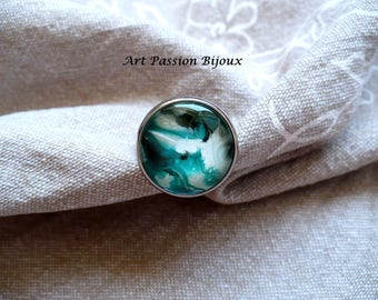 Green white ring, green marble jewelry, swirl ring, round glass ring, hippie ring, stainless steel ring, painted on water, FREE shipping