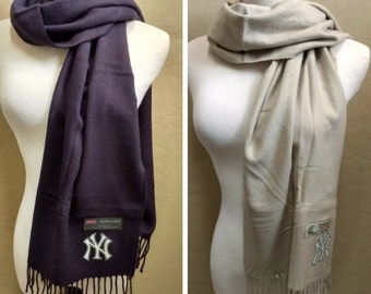 New York Yankees   inspired Cashmere Feel Fringed Scarf with heat applied cotton Team Logo.  Ultra Soft! Unisex! - FLOOR SAMPLE