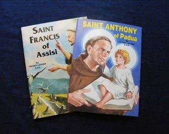 Saints Book, Catholic Saints, Lot 2, Books of Saints,St Anthony, St Francis, Religious Book, Saints, Catholic Book
