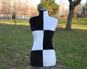 COVER for Mannequin Slip On  bust torso dress form Black White Velvet