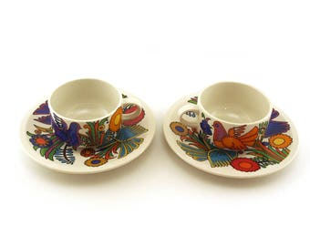 Villeroy & Boch, Acapulco pattern, 2 coffee / tea cups and saucers. (70s edition) Retro homeware