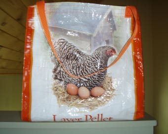 Upcycled Chicken Feed Carry All-Great Grocery Bag