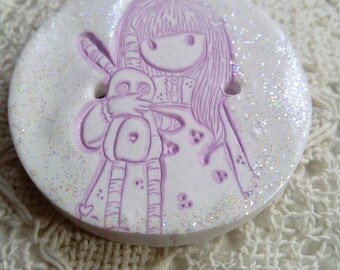 Gorjuss girl polymer clay button, handmade round button, large button, white and lilac button, girl button, scrapbook, card making, sewing