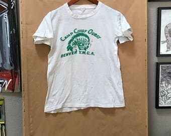 Vintage 60's Camp Chief Ouray Denver YMCA Shirt Camp Shirt Velva Sheen Made in USA 1960's 1970's
