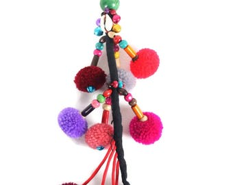 Long Pom Pom Zipper Pull / Key Chain Fair Trade - Thailand