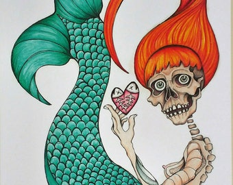 Mermaid Love. A vivid and alternative take on a mythical sea creature. Skulls, hearts, and fish bones, what else could you ask for?