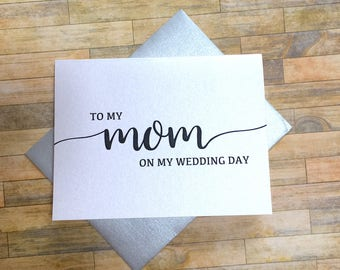to my mom on my wedding day - card for mommy - wedding day card for mother - mama - thank you mom and dad  - BLACK TIE
