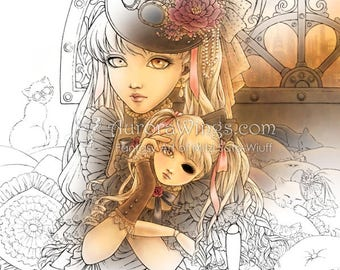 Instant Download - Digital Stamp - Steampunk Girl w/ a Doll Full Ver. - digistamp - Fantasy Line Art for Cards & Crafts by Mitzi Sato-Wiuff