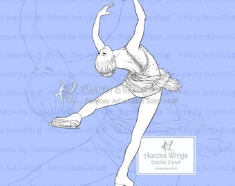 PNG Digital Stamp - Instant Download - Ice Flower - Figure Skater in Layback Spin - Fantasy Line Art Digi for Arts and Crafts - AuroraWings