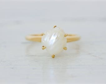 Antique Pearl Engagement Ring | Art Deco Ring | Vintage 1920s Ring | 14k Yellow Gold Promise Ring | Gemstone Solitaire Ring | Size 6.75