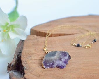Amethyst Necklace, February Birthstone, Mountain Pendant, Natural Gemstone, Amethyst Slice, Chunky Unique Gold Boho Jewelry, Gift for Her