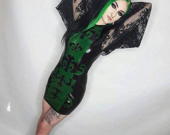 READY TO SHIP. Latex and oversized lace sleeve dress