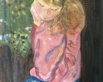 Thinking Girl Portrait Painting on Canvas 12 x 16