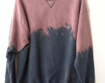 Blue Sweatshirt, Crewneck, Sweatshirt, grunge sweatshirt, acid wash crewneck, dip dye, Hipster, XLarge Sweatshirt, Pink sweatshirt, rocker