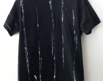 Black and White T- shirt, Graphic Tee shirt, tie dye, acid wash, Grunge, retro, Rocker, hand painted, dip dye, Gift under 15, stripe