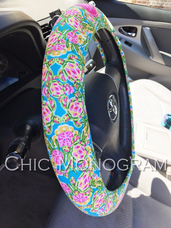 Custom Steering Wheel Cover Padded Insulated Monogrammed Steering Wheel Cover Cute Car Accessories For Women Swimming Sea Turtles Lilly