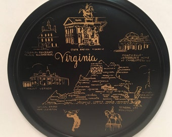 Vintage Virginia Souvenir Tray- Black Metal
