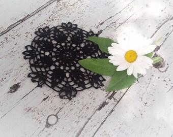 Black small crochet doily, crocheted doilies coasters, crochet table decor, crochet home decoration, small lace doilies, Christmas gift idea
