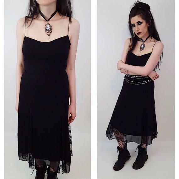 Vintage Black Lace Spaghetti Strap Betsey Johnson Dress - Womens Vintage Lace Tank Dress Medium - Sheer Sexy Goth Lace Layer Lingerie Dress