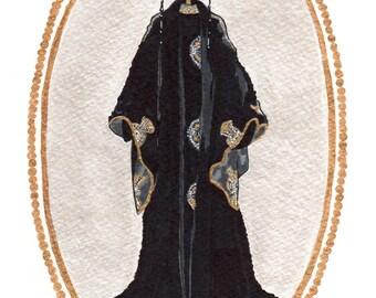 Padme Amidala costume illustration - black senate kimono