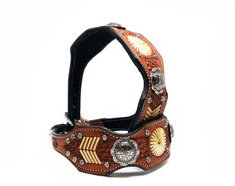 Navajo Style Handmade Tooled Silver MadcoW Western Styled Rawhide Braided Leather K9 Dog Collar Fully Adjustable